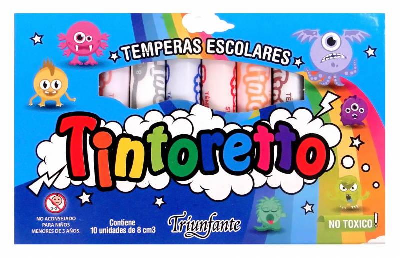 TEMPERAS 10 PZS 8ML TINTORETTO EN CAJA